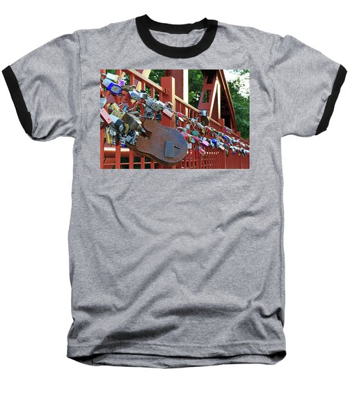 Baseball T-Shirt featuring the photograph Red Bridge Locks by Christopher McKenzie