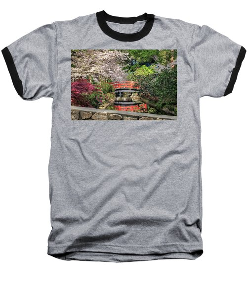 Red Bridge Spring Reflection Baseball T-Shirt by James Eddy