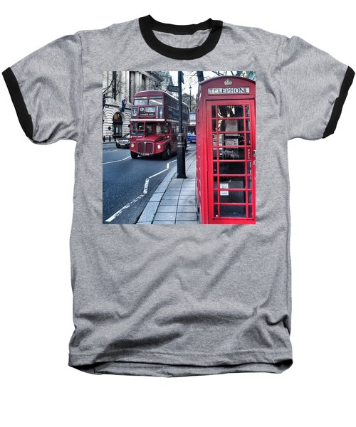 Red Bus In London  Baseball T-Shirt