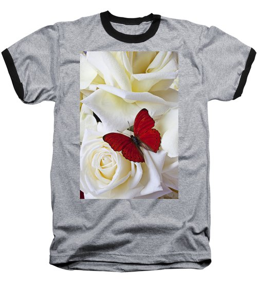 Red Butterfly On White Roses Baseball T-Shirt by Garry Gay
