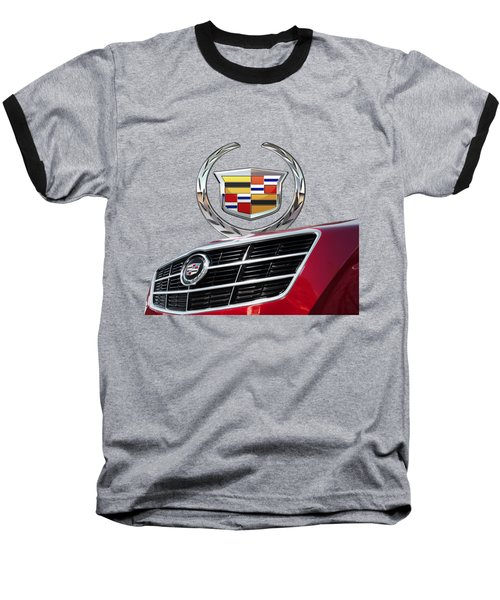Red Cadillac C T S - Front Grill Ornament And 3d Badge On Black Baseball T-Shirt by Serge Averbukh