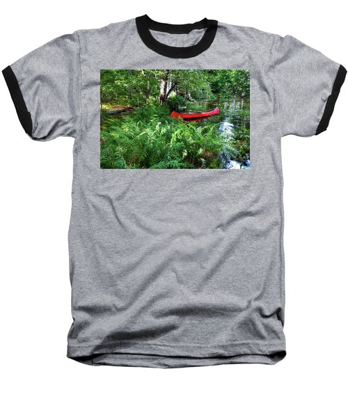 Red Canoe In The Adk Baseball T-Shirt by David Patterson