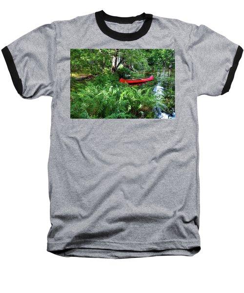 Red Canoe In The Adk Baseball T-Shirt