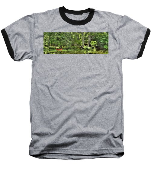 Baseball T-Shirt featuring the photograph Red Canoe Panorama by David Patterson