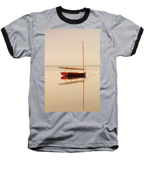 Red Catboat On Misty Harbor Baseball T-Shirt