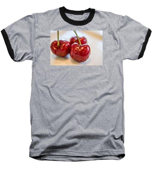 Red Cherries Baseball T-Shirt by Sabine Edrissi