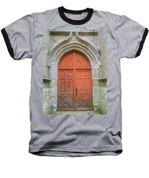 Red Church Door IIi Baseball T-Shirt by Helen Northcott
