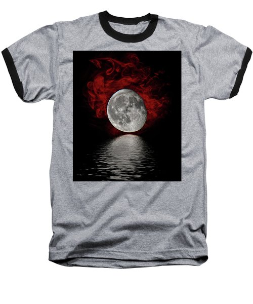 Red Cloud With Moon Over Water Baseball T-Shirt