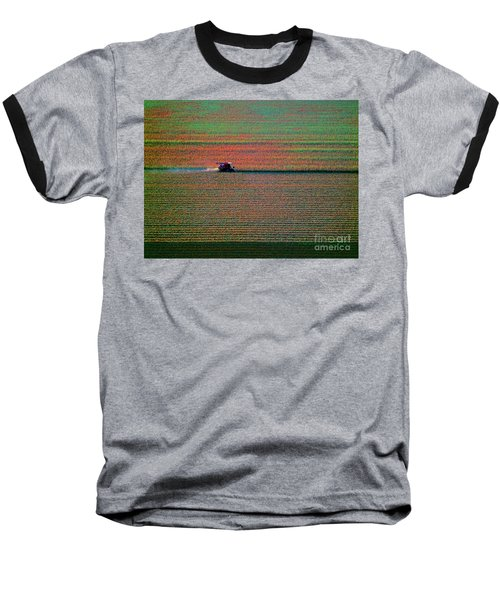 Red Combine Harvesting  Mchenry Aerial Baseball T-Shirt