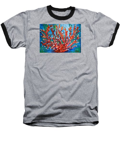 Red Coral Baseball T-Shirt by Edgar Torres