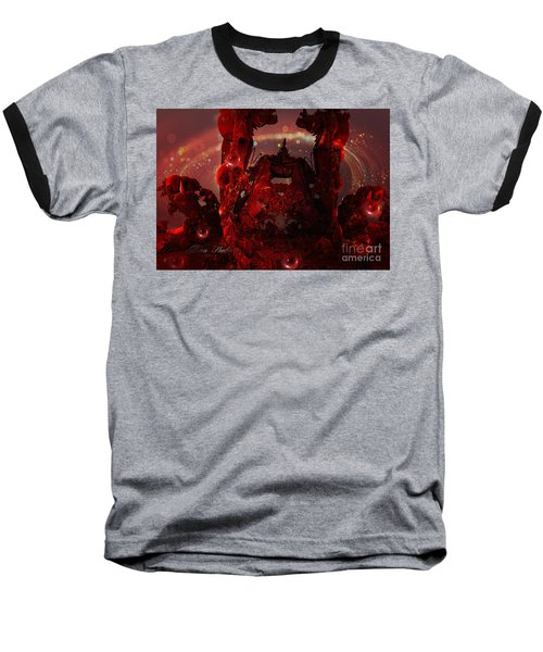 Red Creature Fractal Baseball T-Shirt