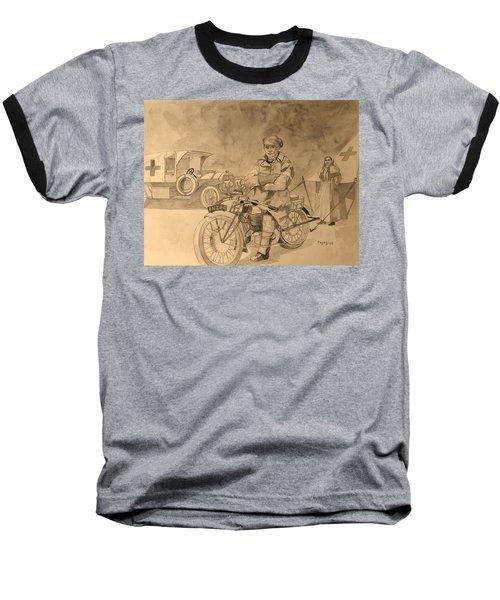 Red Cross Baseball T-Shirt by Ray Agius