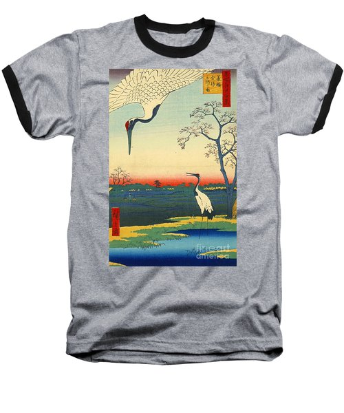 Red Crowned Cranes 1857 Baseball T-Shirt by Padre Art