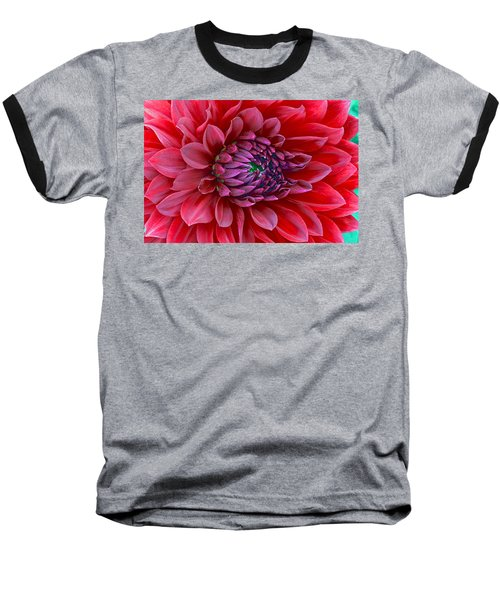 Baseball T-Shirt featuring the photograph Red Dalia Up Close by James Steele