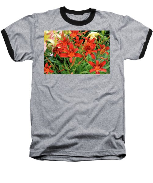 Red Daylilies Baseball T-Shirt