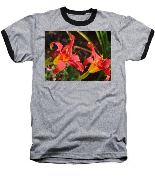 Red Daylilies Baseball T-Shirt
