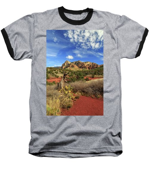 Red Dirt And Cactus In Sedona Baseball T-Shirt by James Eddy