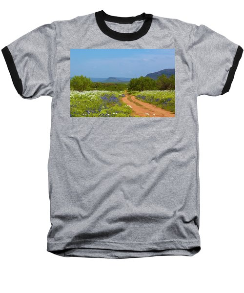 Red Dirt Road With Wild Flowers Baseball T-Shirt
