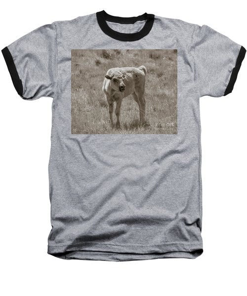 Baseball T-Shirt featuring the photograph Red Dog Buffalo Calf by Rebecca Margraf