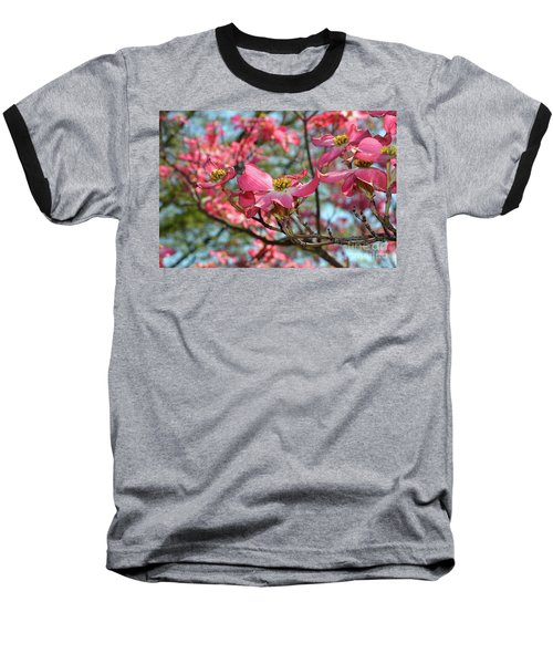 Red Dogwood Flowers Baseball T-Shirt by Eva Kaufman