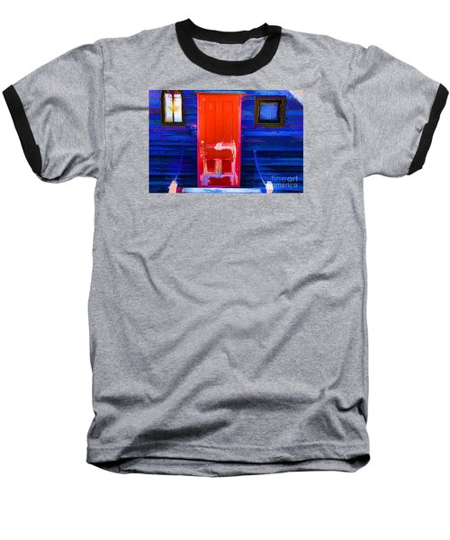 Baseball T-Shirt featuring the photograph Red Door Harbor by Rick Bragan