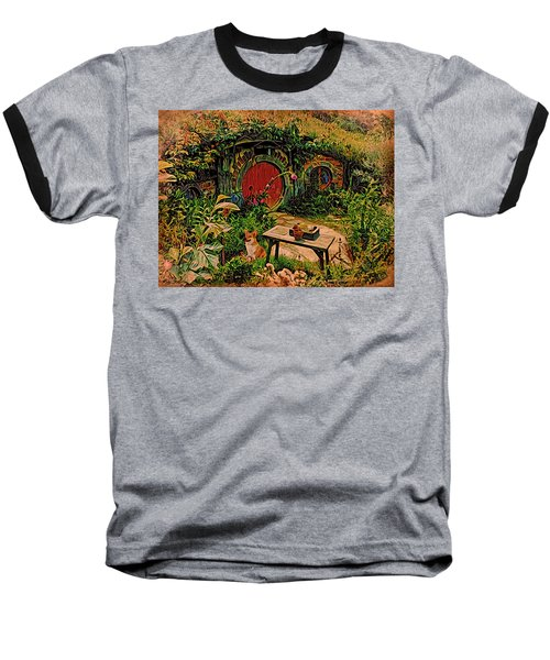 Red Door Hobbit House With Corgi Baseball T-Shirt by Kathy Kelly