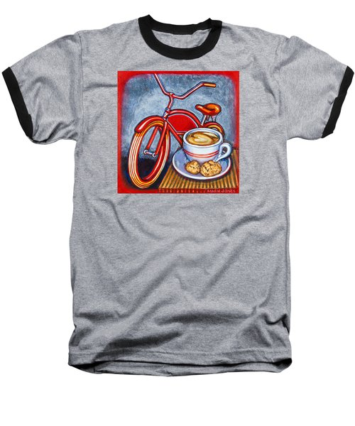 Red Electra Delivery Bicycle Cappuccino And Amaretti Baseball T-Shirt by Mark Jones