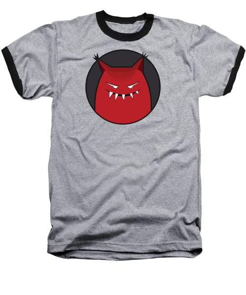Red Evil Monster With Pointy Ears Baseball T-Shirt