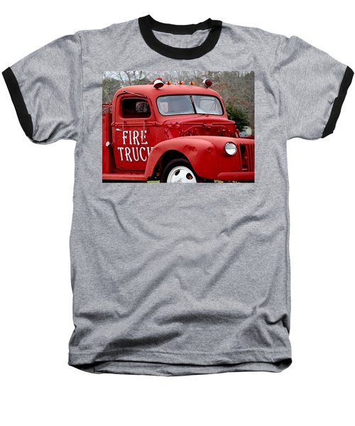 Red Fire Truck Baseball T-Shirt by Michael Thomas