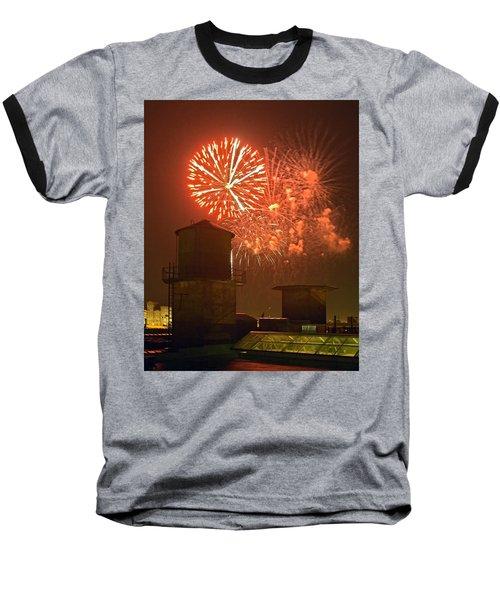 Red Fireworks Baseball T-Shirt