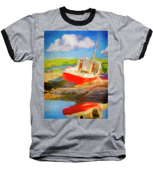 Red Fishing Boat Baseball T-Shirt