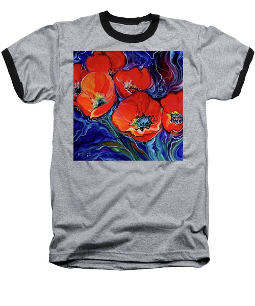 Red Floral Abstract Baseball T-Shirt by Marcia Baldwin