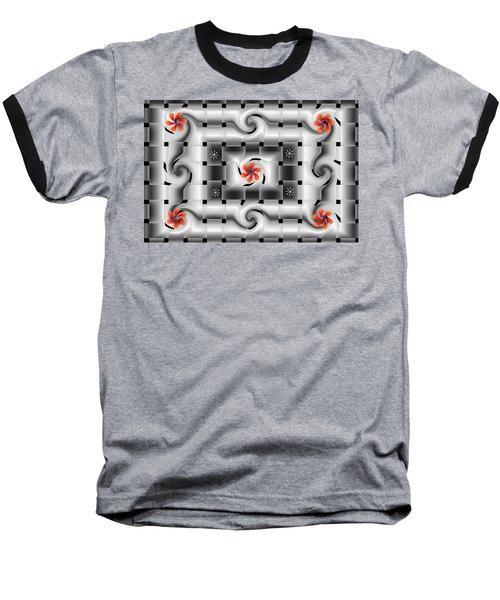 Red Floral Fractal Baseball T-Shirt