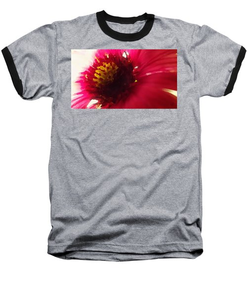 Red Flower Abstract Baseball T-Shirt