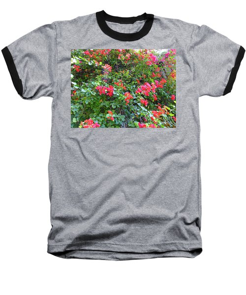 Baseball T-Shirt featuring the photograph Red Flower Hedge by Francesca Mackenney