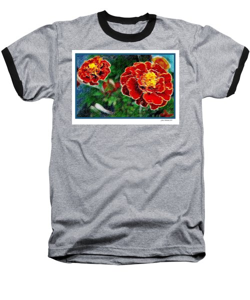 Baseball T-Shirt featuring the photograph Red Flower In Autumn by Joan  Minchak
