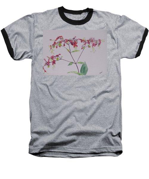 Red Flower Vine Baseball T-Shirt