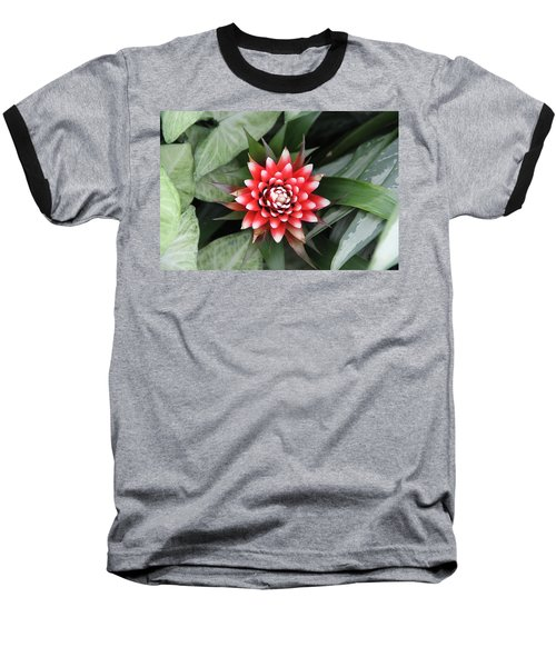 Red Flower With White Tips Baseball T-Shirt