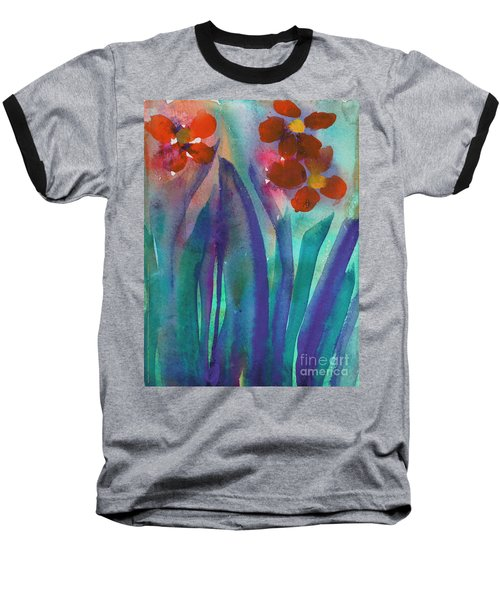 Red Flowers Baseball T-Shirt