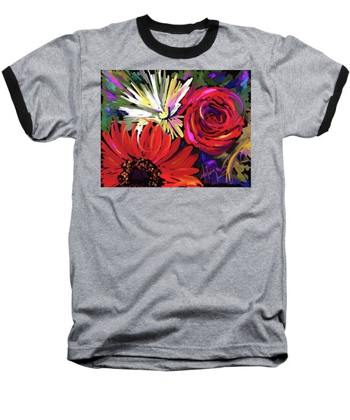 Baseball T-Shirt featuring the painting Red Flowers by DC Langer