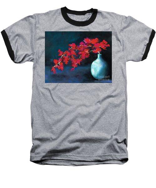 Red Flowers Baseball T-Shirt by Frances Marino
