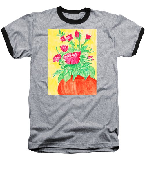 Red Flowers In A Brown Vase Baseball T-Shirt