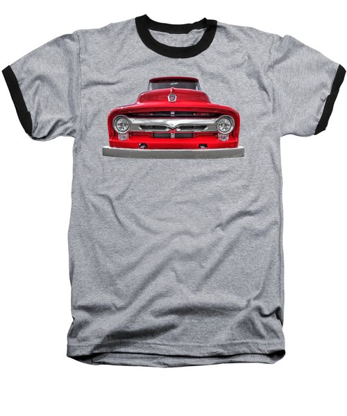 Red Ford F-100 Head On Baseball T-Shirt