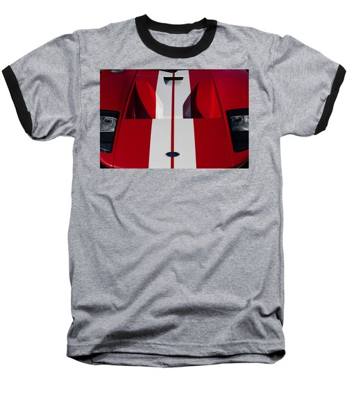 Red Ford Gt Hood Baseball T-Shirt by Joel Witmeyer