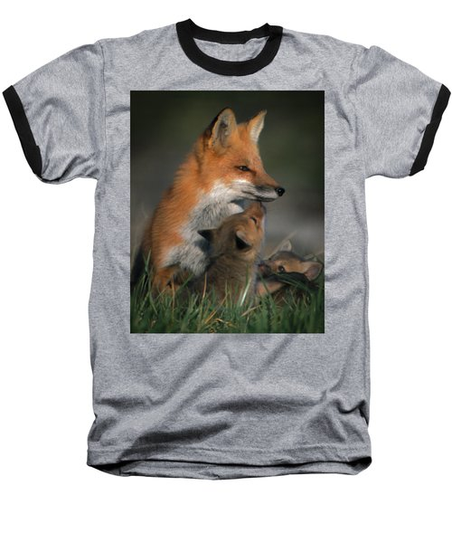 Red Fox Mother And Kits Baseball T-Shirt
