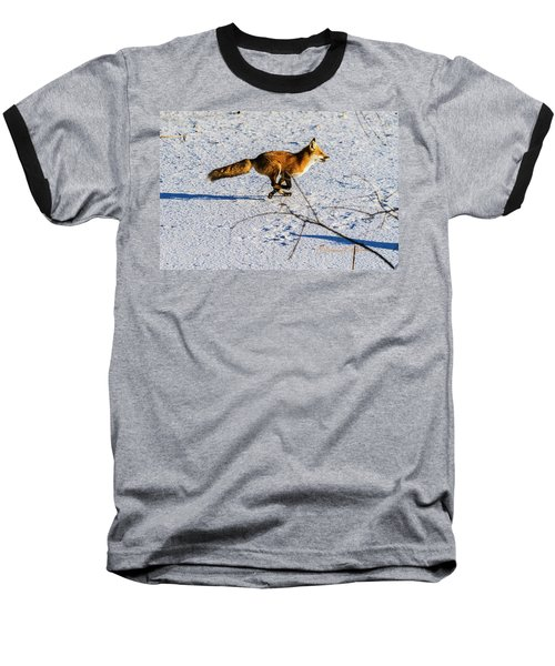 Red Fox On The Run Baseball T-Shirt