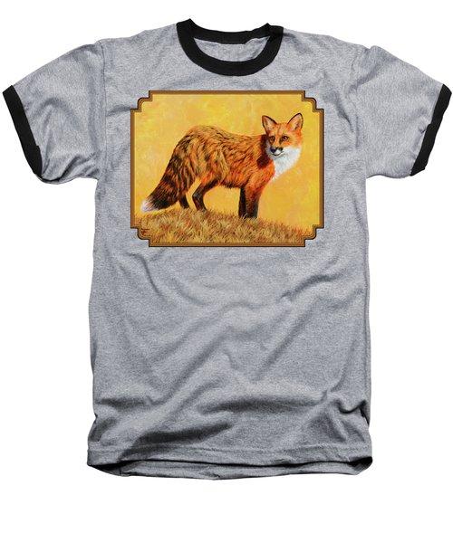 Red Fox Painting - Looking Back Baseball T-Shirt