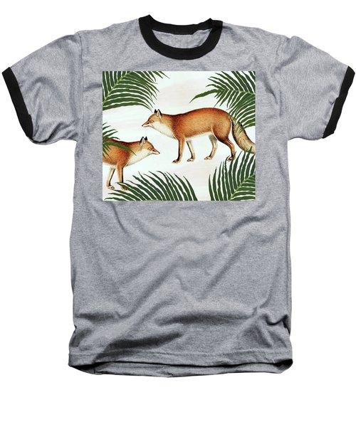 Red Fox Pair Baseball T-Shirt by Uma Gokhale