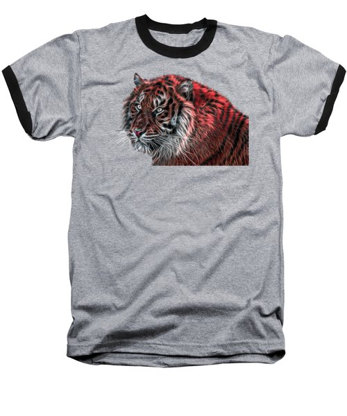 Red Fractal Tiger Baseball T-Shirt