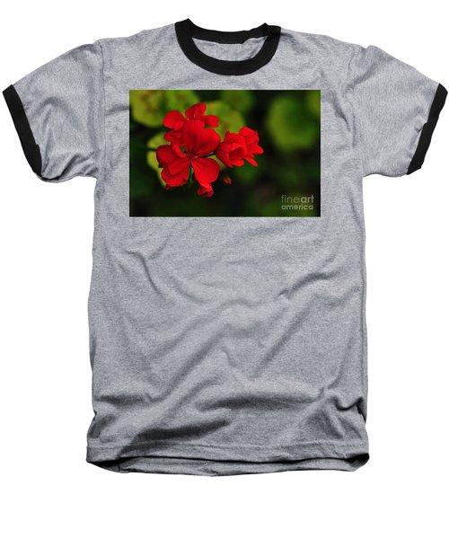 Red Geranium Baseball T-Shirt